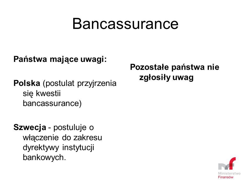 Bancassurance Państwa mające uwagi: Polska (postulat przyjrzenia się kwestii bancassurance) Szwecja - postuluje o włączenie do zakresu dyrektywy insty