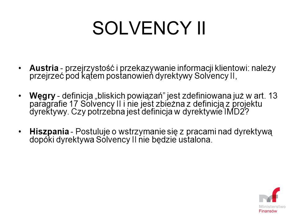 SOLVENCY II Austria - przejrzystość i przekazywanie informacji klientowi: należy przejrzeć pod kątem postanowień dyrektywy Solvency II, Węgry - defini