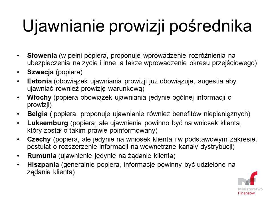 Ujawnianie prowizji pośrednika Słowenia (w pełni popiera, proponuje wprowadzenie rozróżnienia na ubezpieczenia na życie i inne, a także wprowadzenie o