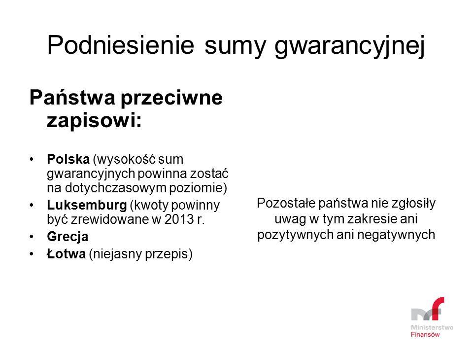 Podniesienie sumy gwarancyjnej Państwa przeciwne zapisowi: Polska (wysokość sum gwarancyjnych powinna zostać na dotychczasowym poziomie) Luksemburg (k