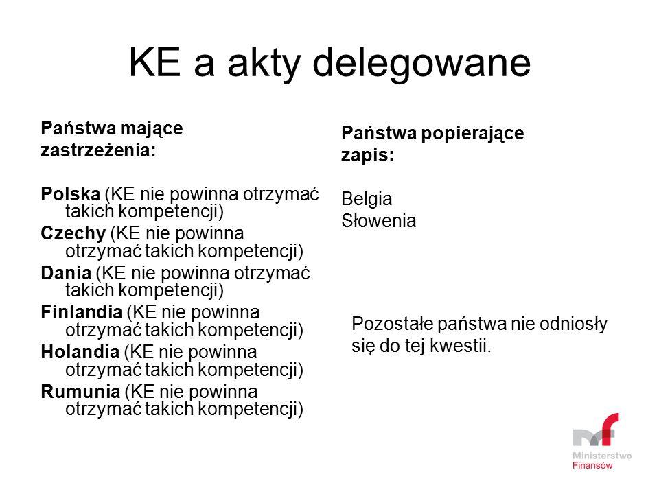 KE a akty delegowane Państwa mające zastrzeżenia: Polska (KE nie powinna otrzymać takich kompetencji) Czechy (KE nie powinna otrzymać takich kompetenc