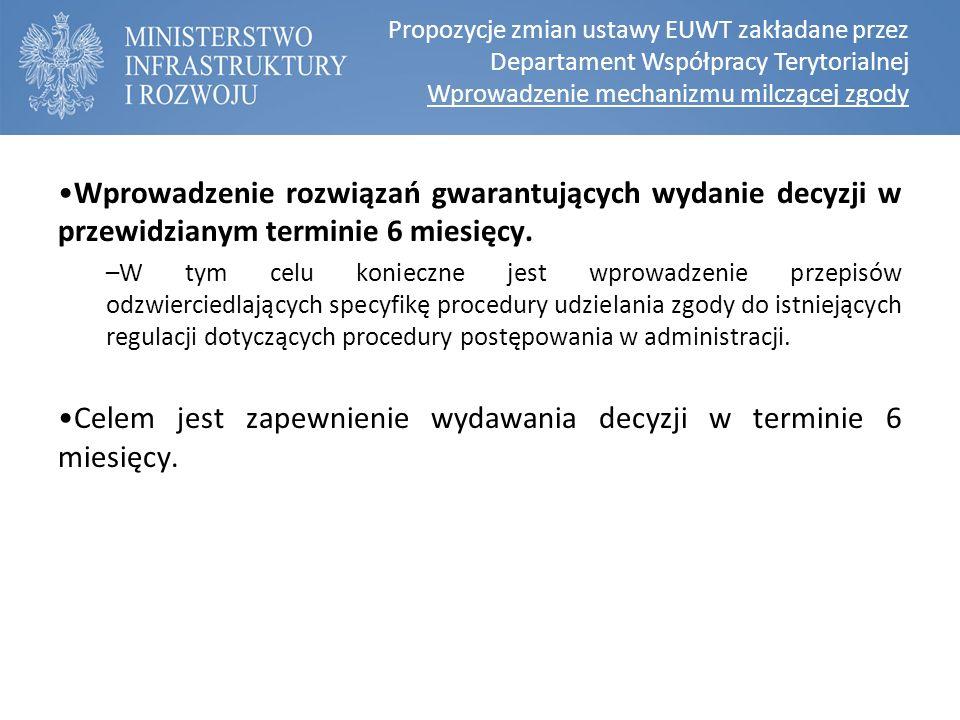 Propozycje zmian ustawy EUWT zakładane przez Departament Współpracy Terytorialnej Wprowadzenie mechanizmu milczącej zgody Wprowadzenie rozwiązań gwarantujących wydanie decyzji w przewidzianym terminie 6 miesięcy.