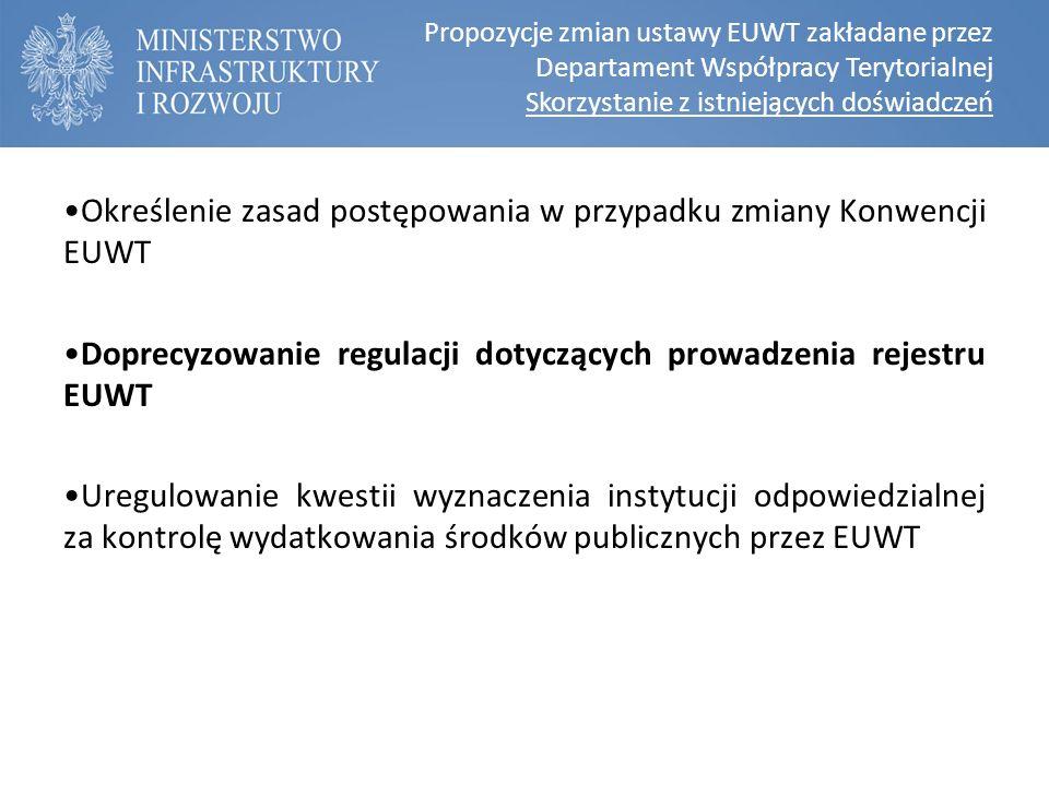 Propozycje zmian ustawy EUWT zakładane przez Departament Współpracy Terytorialnej Skorzystanie z istniejących doświadczeń Określenie zasad postępowania w przypadku zmiany Konwencji EUWT Doprecyzowanie regulacji dotyczących prowadzenia rejestru EUWT Uregulowanie kwestii wyznaczenia instytucji odpowiedzialnej za kontrolę wydatkowania środków publicznych przez EUWT
