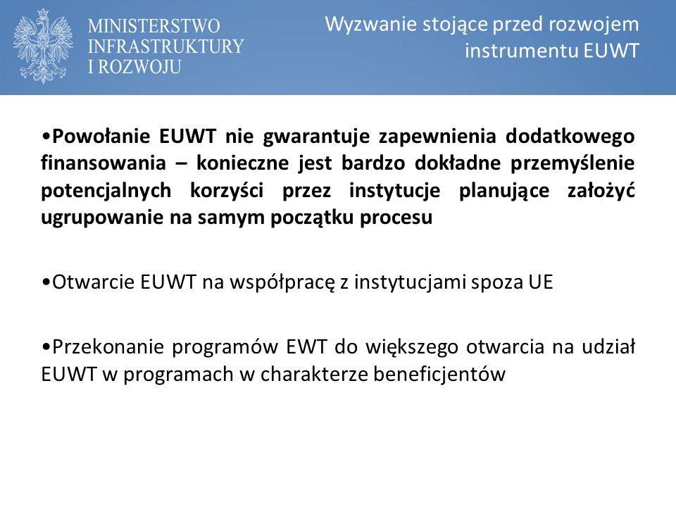 Wyzwanie stojące przed rozwojem instrumentu EUWT Powołanie EUWT nie gwarantuje zapewnienia dodatkowego finansowania – konieczne jest bardzo dokładne przemyślenie potencjalnych korzyści przez instytucje planujące założyć ugrupowanie na samym początku procesu Otwarcie EUWT na współpracę z instytucjami spoza UE Przekonanie programów EWT do większego otwarcia na udział EUWT w programach w charakterze beneficjentów