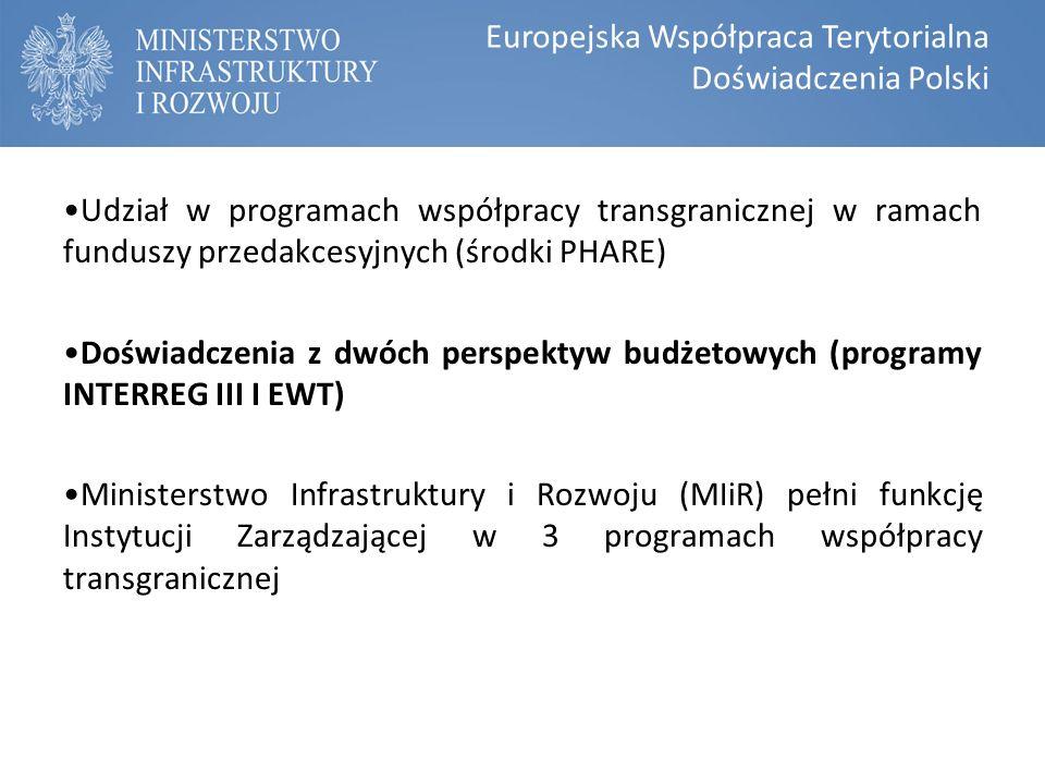 Udział w programach współpracy transgranicznej w ramach funduszy przedakcesyjnych (środki PHARE) Doświadczenia z dwóch perspektyw budżetowych (programy INTERREG III I EWT) Ministerstwo Infrastruktury i Rozwoju (MIiR) pełni funkcję Instytucji Zarządzającej w 3 programach współpracy transgranicznej Europejska Współpraca Terytorialna Doświadczenia Polski