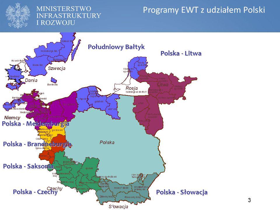 3 Południowy Bałtyk Polska - Meklemburgia Polska - Saksonia Polska - Czechy Polska - Brandneburgia Polska - Słowacja Polska - Litwa Programy współpracy transgranicznej EWT Programy EWT z udziałem Polski