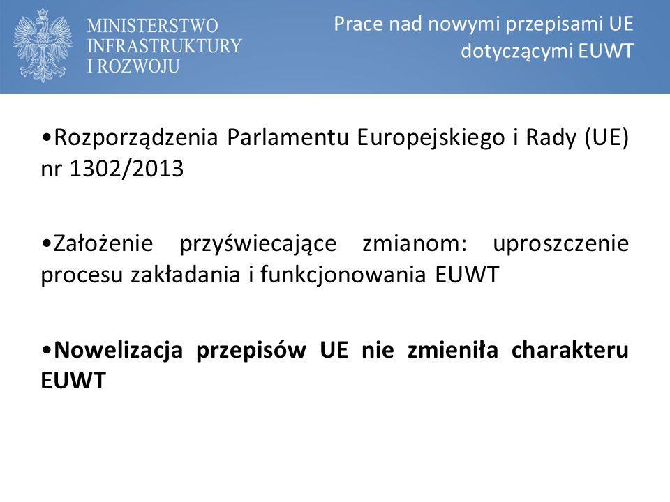 Prace nad nowymi przepisami UE dotyczącymi EUWT Rozporządzenia Parlamentu Europejskiego i Rady (UE) nr 1302/2013 Założenie przyświecające zmianom: uproszczenie procesu zakładania i funkcjonowania EUWT Nowelizacja przepisów UE nie zmieniła charakteru EUWT
