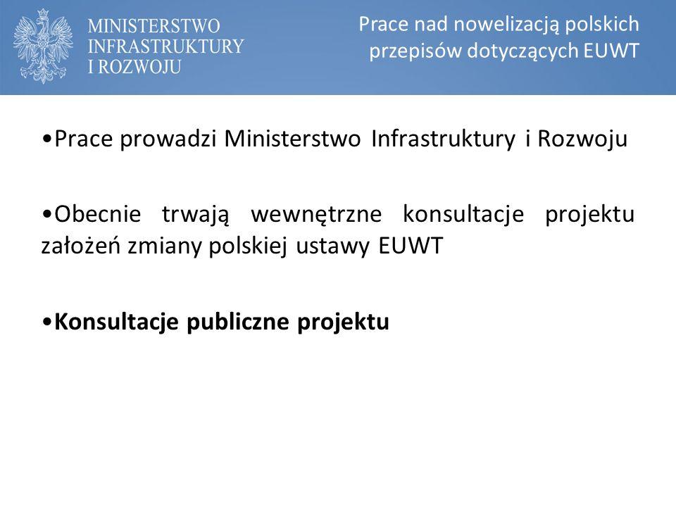 Prace nad nowelizacją polskich przepisów dotyczących EUWT Prace prowadzi Ministerstwo Infrastruktury i Rozwoju Obecnie trwają wewnętrzne konsultacje projektu założeń zmiany polskiej ustawy EUWT Konsultacje publiczne projektu