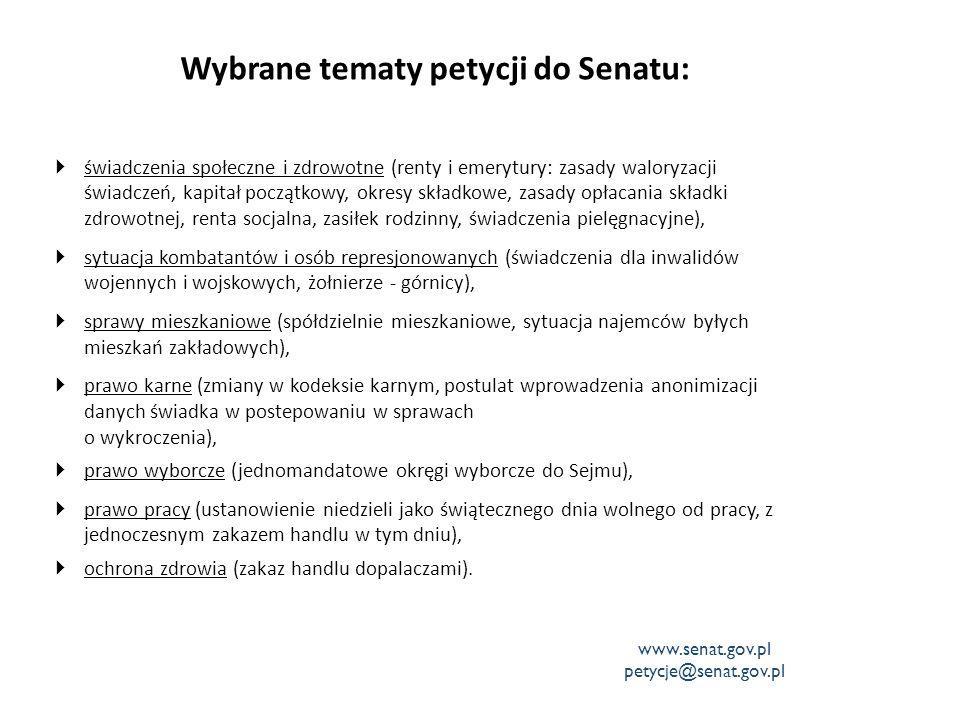Wybrane tematy petycji do Senatu:  świadczenia społeczne i zdrowotne (renty i emerytury: zasady waloryzacji świadczeń, kapitał początkowy, okresy skł