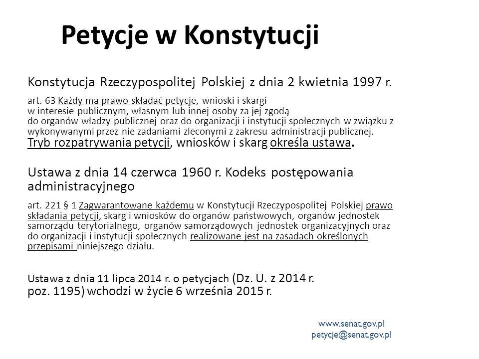 Petycje w Konstytucji Konstytucja Rzeczypospolitej Polskiej z dnia 2 kwietnia 1997 r. art. 63 Każdy ma prawo składać petycje, wnioski i skargi w inter