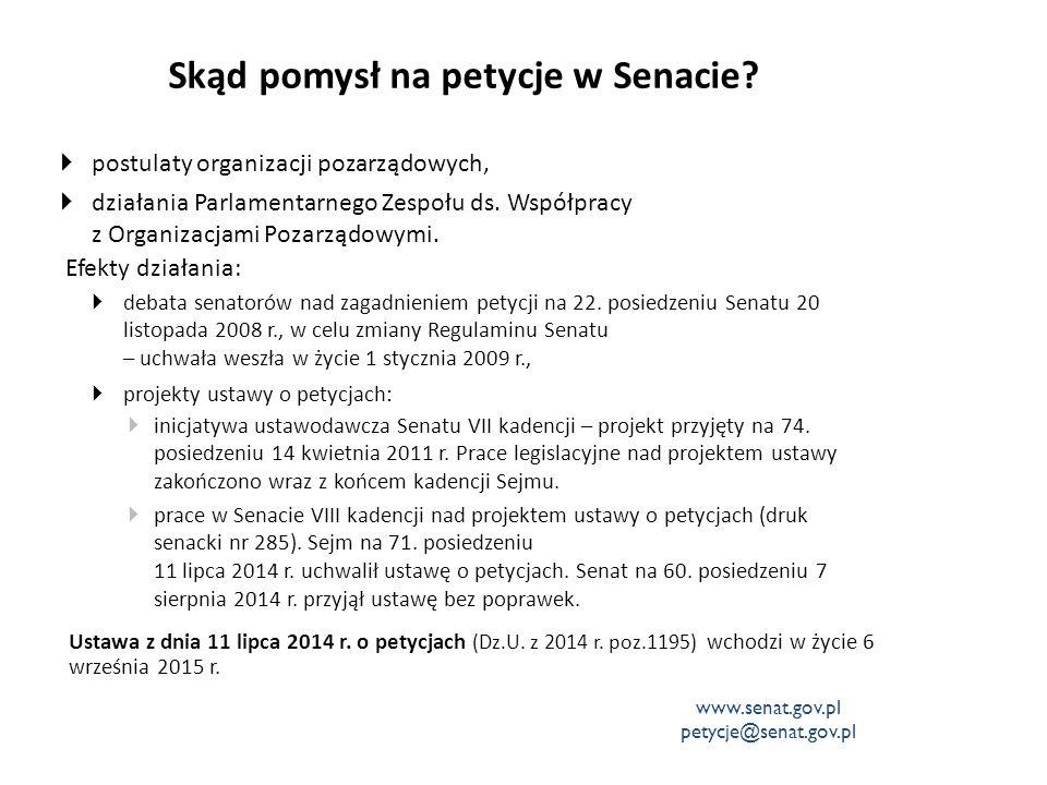 Regulamin Senatu – petycje Dział Xa - Rozpatrywanie petycji określa:  tryb rozpatrywania petycji przez organy Senatu – Marszałka i komisje,  rozszerzenie kompetencji Komisji Praw Człowieka i Praworządności o rozpatrywanie petycji,  powołanie Działu Petycji i Korespondencji w Biurze Komunikacji Społecznej, jako jednostki wspomagającej komisje w procesie rozpatrywania petycji.