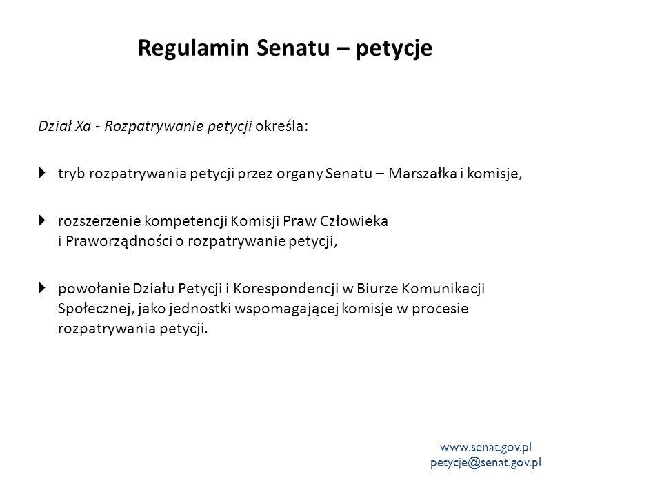 Regulamin Senatu – petycje Dział Xa - Rozpatrywanie petycji określa:  tryb rozpatrywania petycji przez organy Senatu – Marszałka i komisje,  rozszer