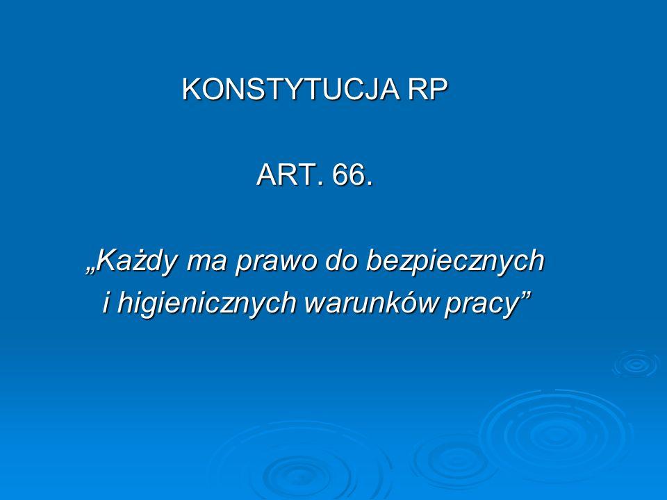 """KONSTYTUCJA RP ART. 66. """"Każdy ma prawo do bezpiecznych i higienicznych warunków pracy"""