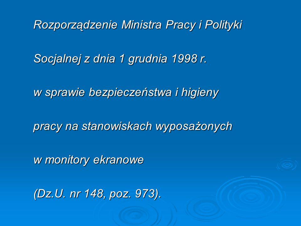 Rozporządzenie Ministra Pracy i Polityki Socjalnej z dnia 1 grudnia 1998 r.