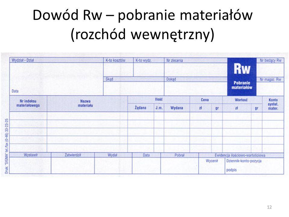 Dowód Rw – pobranie materiałów (rozchód wewnętrzny) 12