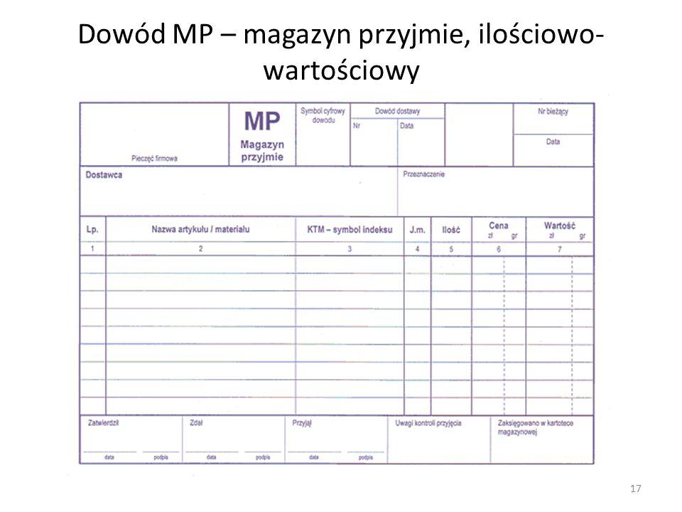 Dowód MP – magazyn przyjmie, ilościowo- wartościowy 17