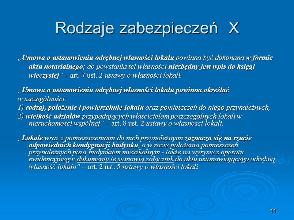 12 Rodzaje zabezpieczeń XI Art.11 14 ustawy o spółdzielniach mieszkaniowych 1.