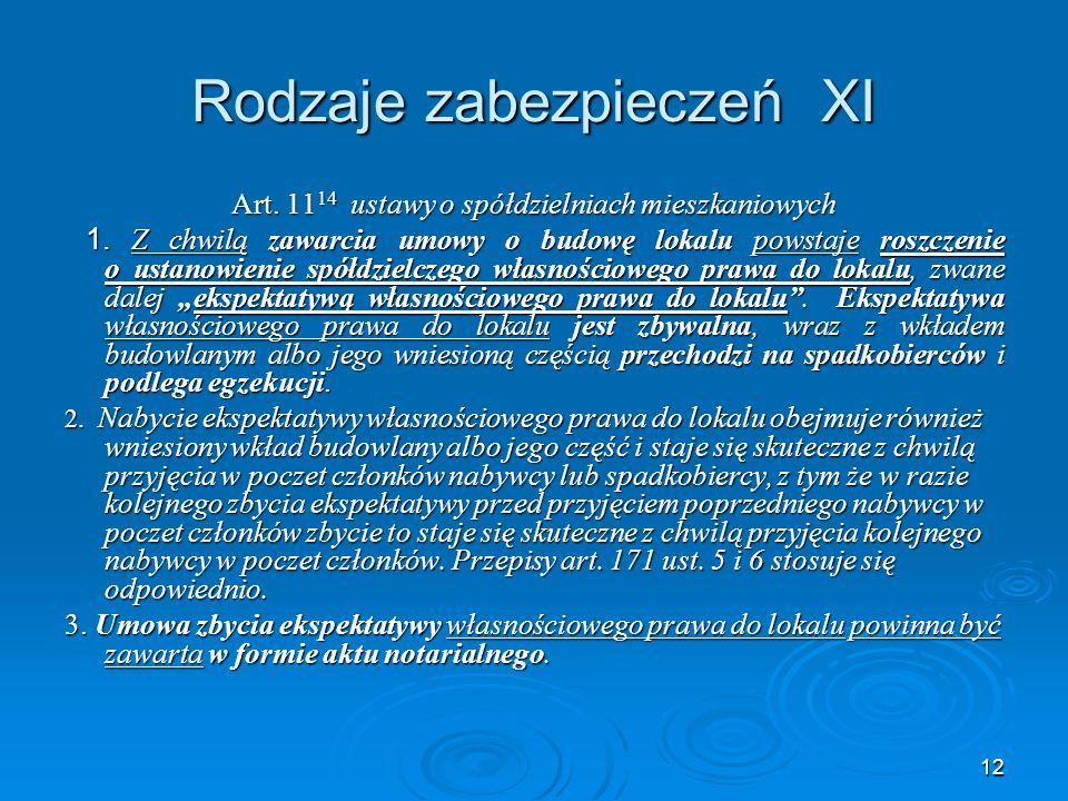 12 Rodzaje zabezpieczeń XI Art. 11 14 ustawy o spółdzielniach mieszkaniowych 1.