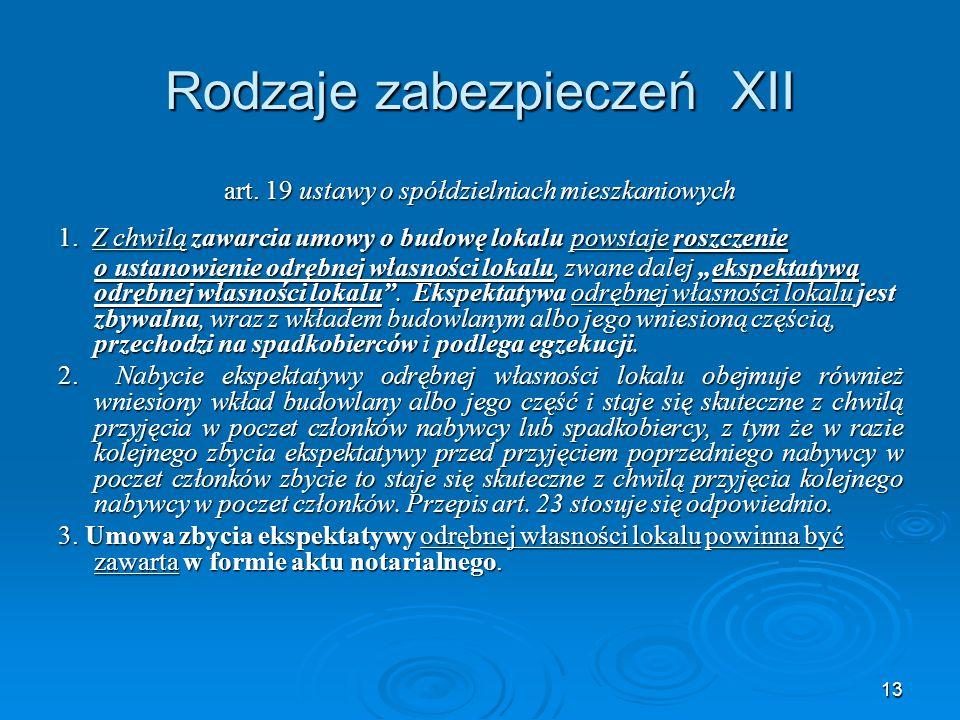 13 Rodzaje zabezpieczeń XII art. 19 ustawy o spółdzielniach mieszkaniowych 1.