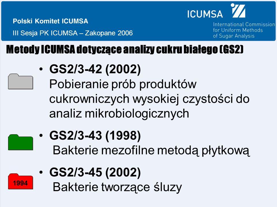 III Sesja PK ICUMSA – Zakopane 2006 Metody ICUMSA dotyczące analizy cukru białego (GS2) GS2/3-42 (2002) Pobieranie prób produktów cukrowniczych wysokiej czystości do analiz mikrobiologicznych GS2/3-43 (1998) Bakterie mezofilne metodą płytkową GS2/3-45 (2002) Bakterie tworzące śluzy 1994