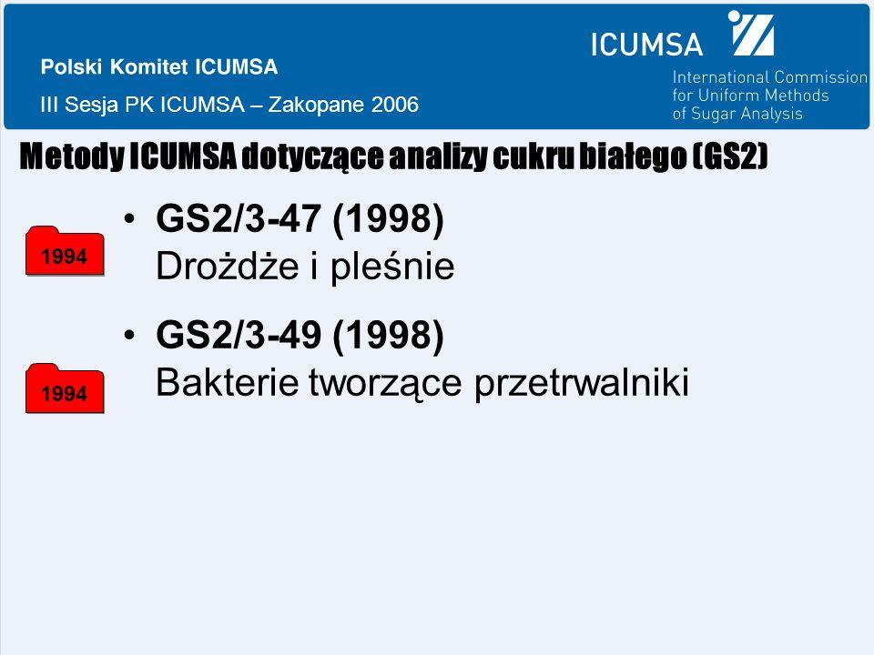 III Sesja PK ICUMSA – Zakopane 2006 Metody ICUMSA dotyczące analizy cukru białego (GS2) GS2/3-47 (1998) Drożdże i pleśnie GS2/3-49 (1998) Bakterie tworzące przetrwalniki 1994