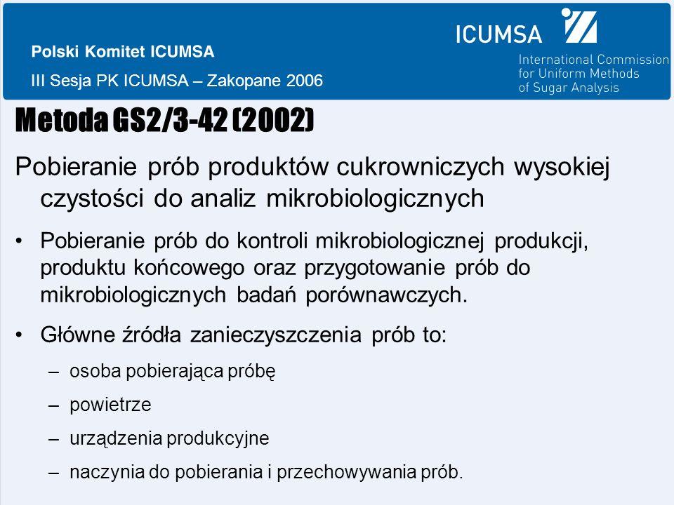 III Sesja PK ICUMSA – Zakopane 2006 Metoda GS2/3-42 (2002) Pobieranie prób produktów cukrowniczych wysokiej czystości do analiz mikrobiologicznych Pobieranie prób do kontroli mikrobiologicznej produkcji, produktu końcowego oraz przygotowanie prób do mikrobiologicznych badań porównawczych.