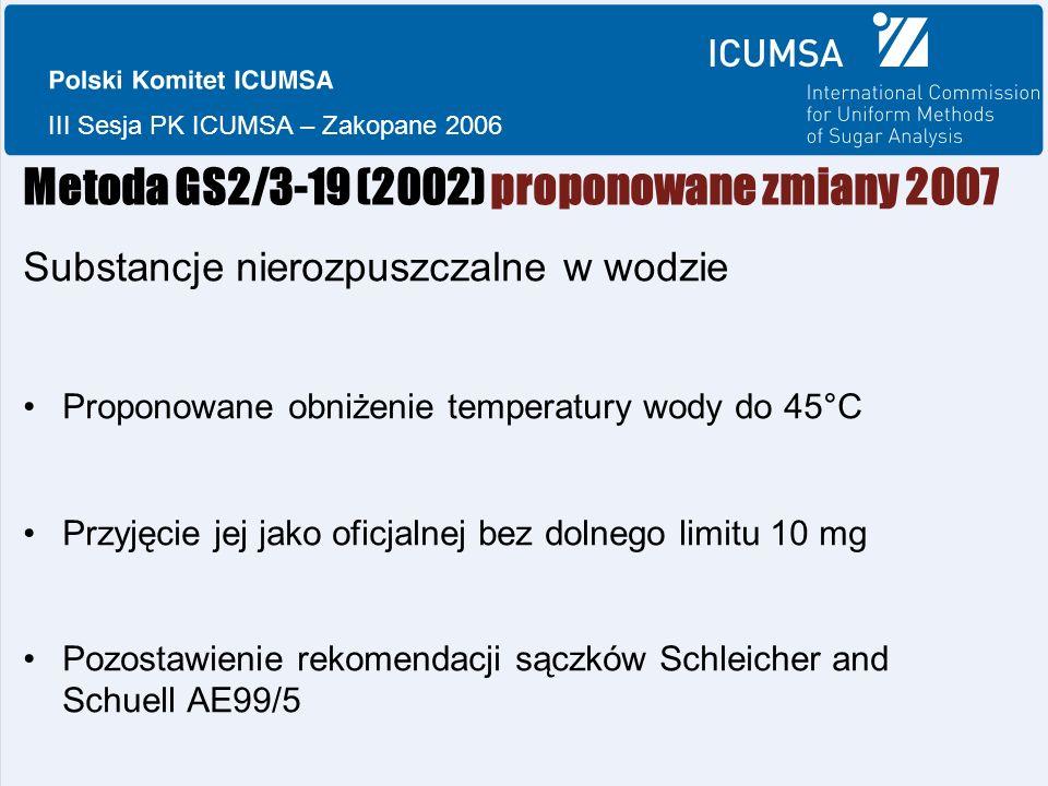 III Sesja PK ICUMSA – Zakopane 2006 Metoda GS2/3-19 (2002) proponowane zmiany 2007 Substancje nierozpuszczalne w wodzie Proponowane obniżenie temperatury wody do 45°C Przyjęcie jej jako oficjalnej bez dolnego limitu 10 mg Pozostawienie rekomendacji sączków Schleicher and Schuell AE99/5