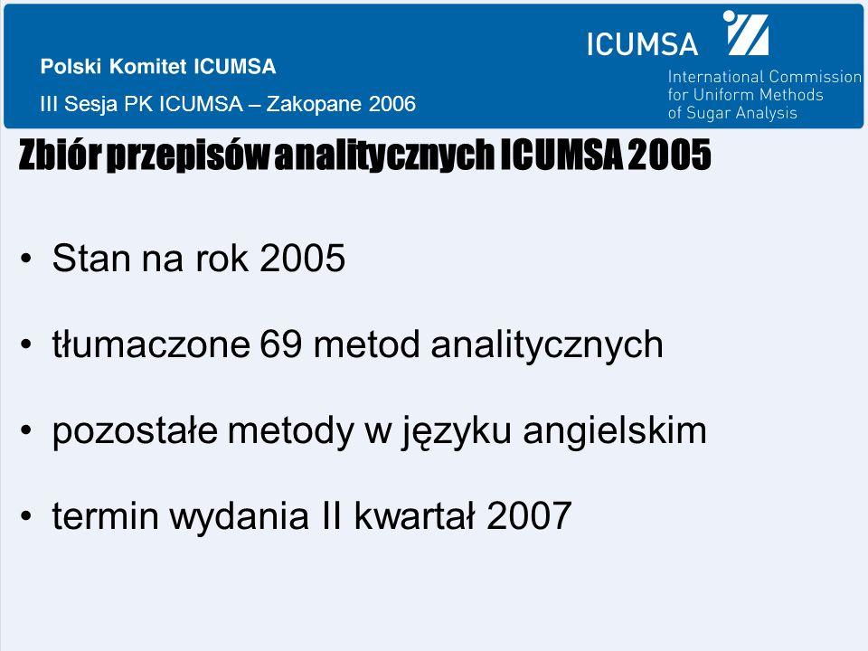 III Sesja PK ICUMSA – Zakopane 2006 Zbiór przepisów analitycznych ICUMSA 2005 Stan na rok 2005 tłumaczone 69 metod analitycznych pozostałe metody w języku angielskim termin wydania II kwartał 2007