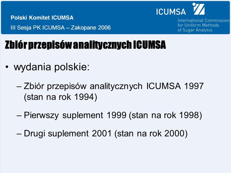 III Sesja PK ICUMSA – Zakopane 2006 Zbiór przepisów analitycznych ICUMSA wydania polskie: –Zbiór przepisów analitycznych ICUMSA 1997 (stan na rok 1994) –Pierwszy suplement 1999 (stan na rok 1998) –Drugi suplement 2001 (stan na rok 2000)