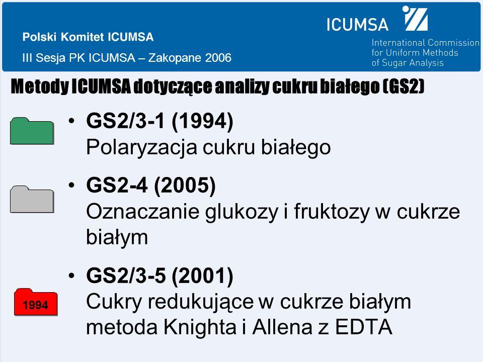 III Sesja PK ICUMSA – Zakopane 2006 Metody ICUMSA dotyczące analizy cukru białego (GS2) GS2/3-1 (1994) Polaryzacja cukru białego GS2-4 (2005) Oznaczanie glukozy i fruktozy w cukrze białym GS2/3-5 (2001) Cukry redukujące w cukrze białym metoda Knighta i Allena z EDTA 1994
