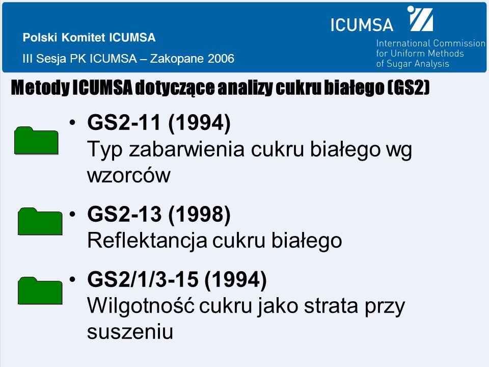 III Sesja PK ICUMSA – Zakopane 2006 Metody ICUMSA dotyczące analizy cukru białego (GS2) GS2-11 (1994) Typ zabarwienia cukru białego wg wzorców GS2-13 (1998) Reflektancja cukru białego GS2/1/3-15 (1994) Wilgotność cukru jako strata przy suszeniu