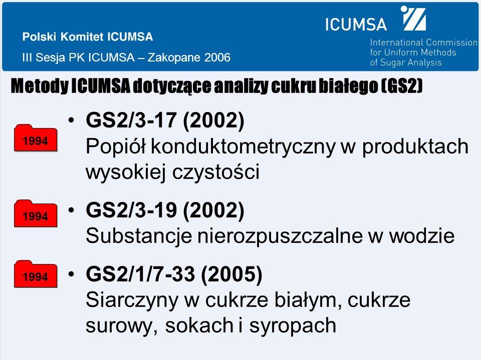 III Sesja PK ICUMSA – Zakopane 2006 Metody ICUMSA dotyczące analizy cukru białego (GS2) GS2/3-17 (2002) Popiół konduktometryczny w produktach wysokiej czystości GS2/3-19 (2002) Substancje nierozpuszczalne w wodzie GS2/1/7-33 (2005) Siarczyny w cukrze białym, cukrze surowy, sokach i syropach 1994