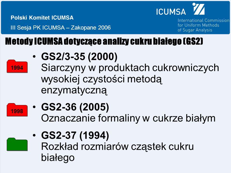 III Sesja PK ICUMSA – Zakopane 2006 Metody ICUMSA dotyczące analizy cukru białego (GS2) GS2/3-35 (2000) Siarczyny w produktach cukrowniczych wysokiej czystości metodą enzymatyczną GS2-36 (2005) Oznaczanie formaliny w cukrze białym GS2-37 (1994) Rozkład rozmiarów cząstek cukru białego 19941998
