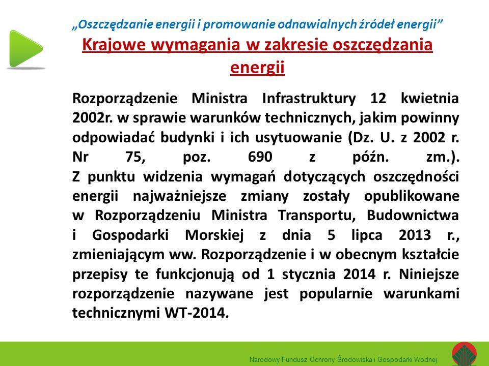 """""""Oszczędzanie energii i promowanie odnawialnych źródeł energii"""" Krajowe wymagania w zakresie oszczędzania energii Rozporządzenie Ministra Infrastruktu"""