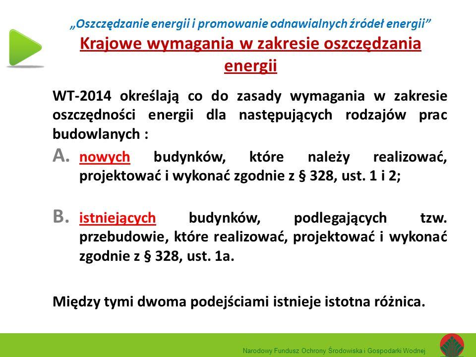 """""""Oszczędzanie energii i promowanie odnawialnych źródeł energii"""" Krajowe wymagania w zakresie oszczędzania energii WT-2014 określają co do zasady wymag"""