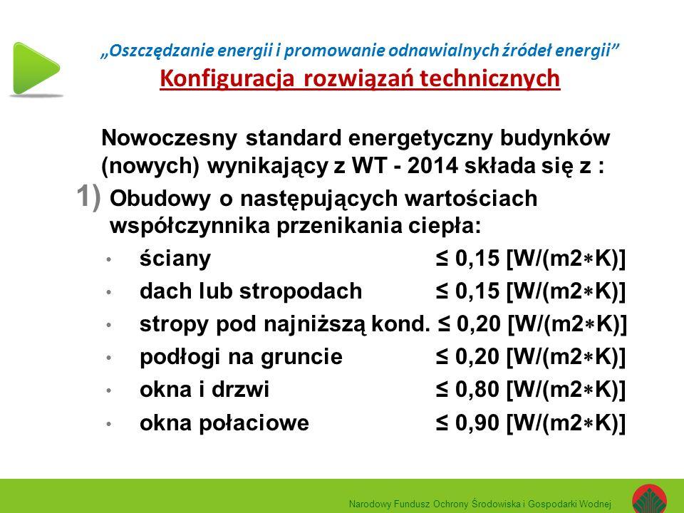"""""""Oszczędzanie energii i promowanie odnawialnych źródeł energii Konfiguracja rozwiązań technicznych Nowoczesny standard energetyczny budynków (nowych) wynikający z WT - 2014 składa się z : 1) Obudowy o następujących wartościach współczynnika przenikania ciepła: ściany ≤ 0,15 [W/(m2  K)] dach lub stropodach ≤ 0,15 [W/(m2  K)] stropy pod najniższą kond."""