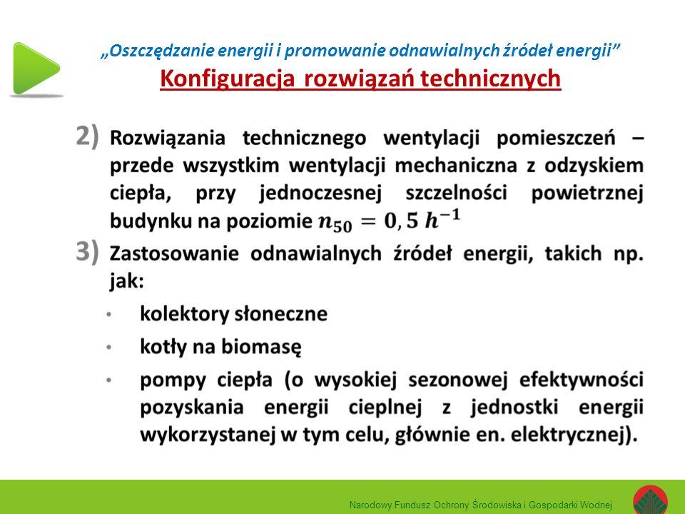 """""""Oszczędzanie energii i promowanie odnawialnych źródeł energii Konfiguracja rozwiązań technicznych Narodowy Fundusz Ochrony Środowiska i Gospodarki Wodnej"""