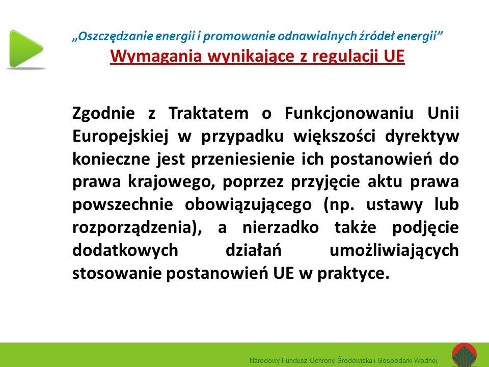 """""""Oszczędzanie energii i promowanie odnawialnych źródeł energii"""" Wymagania wynikające z regulacji UE Zgodnie z Traktatem o Funkcjonowaniu Unii Europejs"""