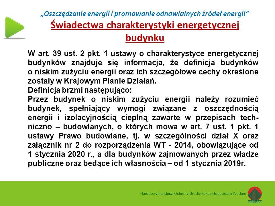 """""""Oszczędzanie energii i promowanie odnawialnych źródeł energii Świadectwa charakterystyki energetycznej budynku Narodowy Fundusz Ochrony Środowiska i Gospodarki Wodnej W art."""