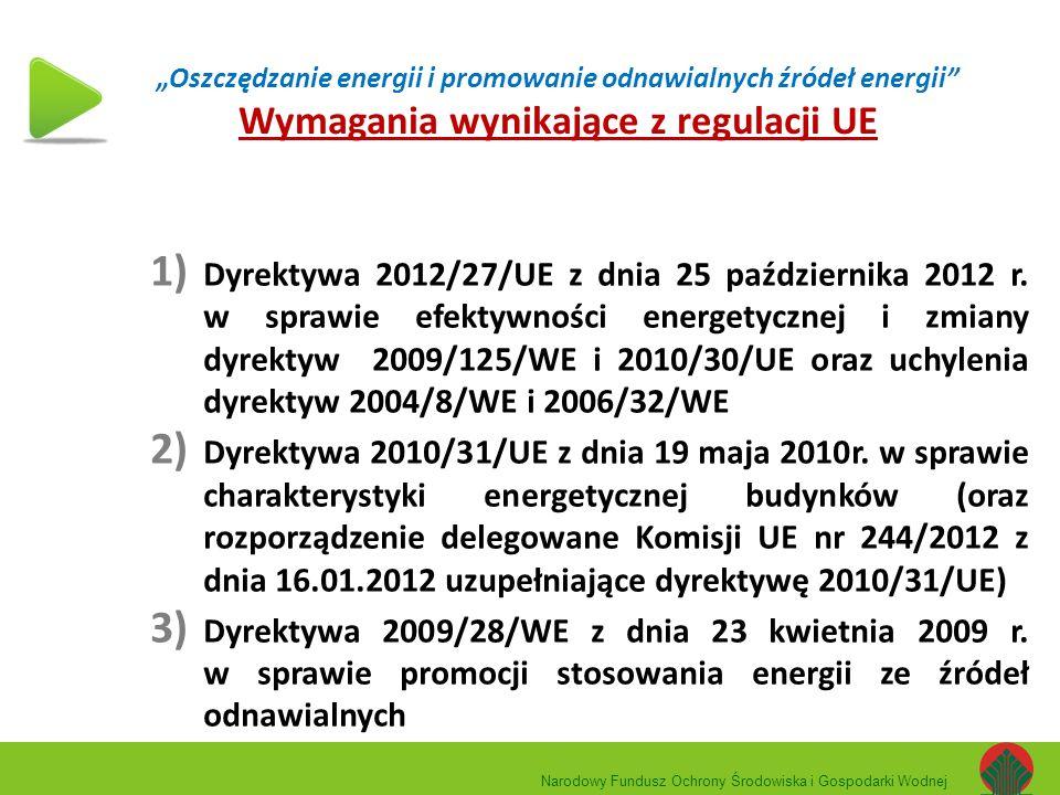 """""""Oszczędzanie energii i promowanie odnawialnych źródeł energii"""" Wymagania wynikające z regulacji UE 1) Dyrektywa 2012/27/UE z dnia 25 października 201"""