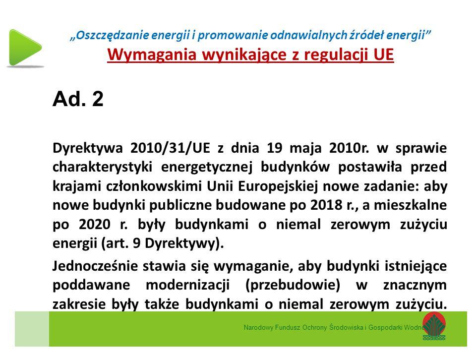 """""""Oszczędzanie energii i promowanie odnawialnych źródeł energii"""" Wymagania wynikające z regulacji UE Ad. 2 Dyrektywa 2010/31/UE z dnia 19 maja 2010r. w"""