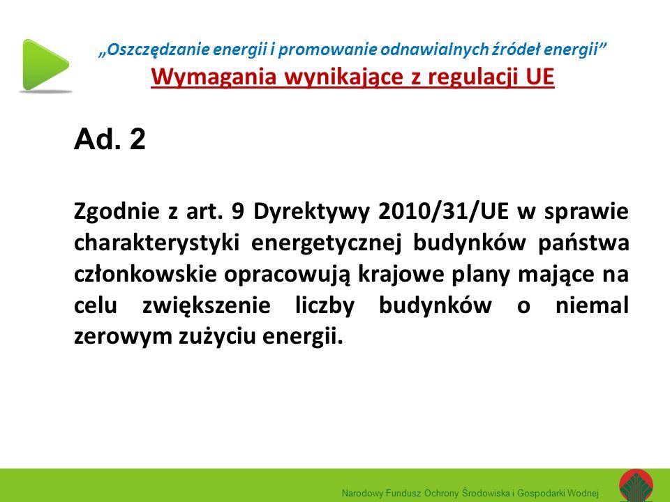 """""""Oszczędzanie energii i promowanie odnawialnych źródeł energii"""" Wymagania wynikające z regulacji UE Ad. 2 Zgodnie z art. 9 Dyrektywy 2010/31/UE w spra"""