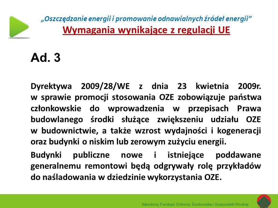 """""""Oszczędzanie energii i promowanie odnawialnych źródeł energii"""" Wymagania wynikające z regulacji UE Ad. 3 Dyrektywa 2009/28/WE z dnia 23 kwietnia 2009"""