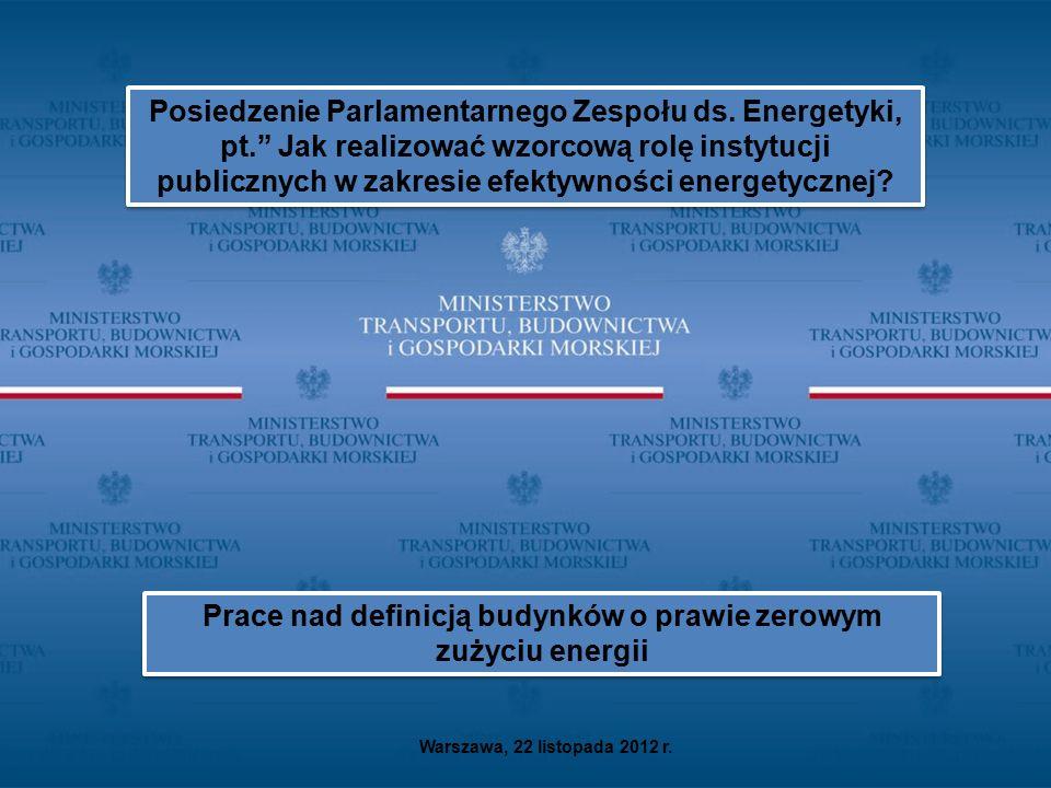 """Warszawa, 22 listopada 2012 r. Posiedzenie Parlamentarnego Zespołu ds. Energetyki, pt."""" Jak realizować wzorcową rolę instytucji publicznych w zakresie"""