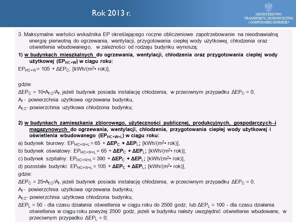 MINISTERSTWO TRANSPORTU, BUDOWNICTWA i GOSPODARKI MORSKIEJ Rok 2013 r. 3. Maksymalne wartości wskaźnika EP określającego roczne obliczeniowe zapotrzeb