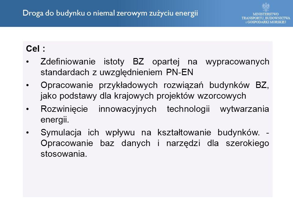 Cel : Zdefiniowanie istoty BZ opartej na wypracowanych standardach z uwzględnieniem PN-EN Opracowanie przykładowych rozwiązań budynków BZ, jako podstawy dla krajowych projektów wzorcowych Rozwinięcie innowacyjnych technologii wytwarzania energii.