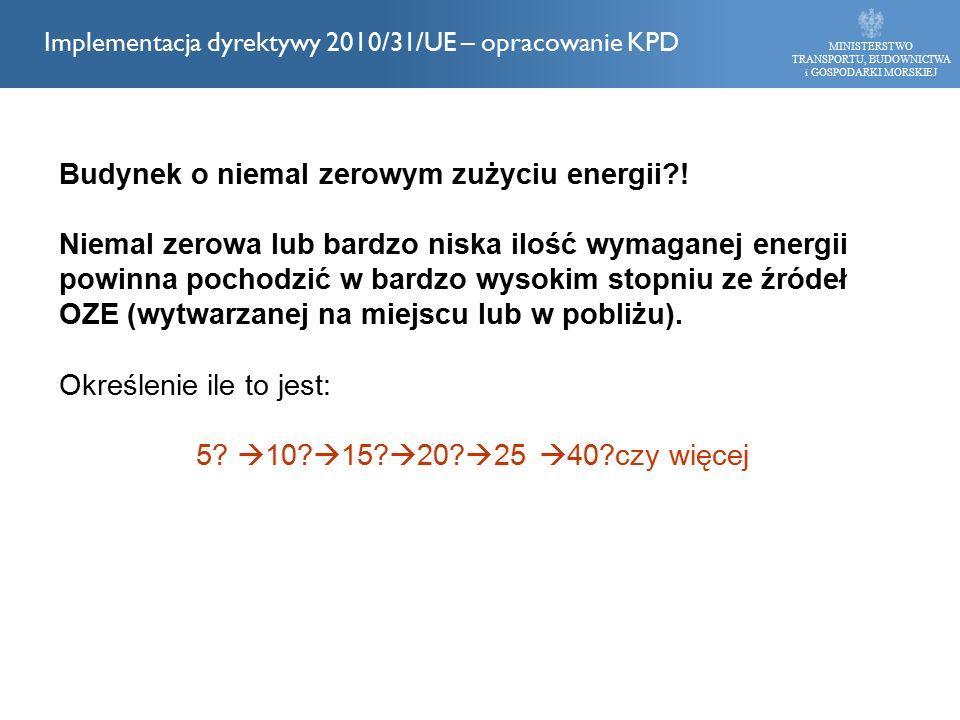 MINISTERSTWO TRANSPORTU, BUDOWNICTWA i GOSPODARKI MORSKIEJ Implementacja dyrektywy 2010/31/UE – opracowanie KPD Budynek o niemal zerowym zużyciu energii .