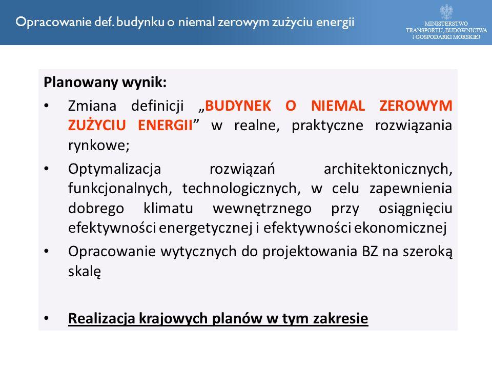 """Planowany wynik: Zmiana definicji """"BUDYNEK O NIEMAL ZEROWYM ZUŻYCIU ENERGII"""" w realne, praktyczne rozwiązania rynkowe; Optymalizacja rozwiązań archite"""