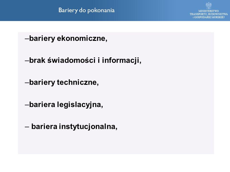 –bariery ekonomiczne, –brak świadomości i informacji, –bariery techniczne, –bariera legislacyjna, – bariera instytucjonalna, MINISTERSTWO TRANSPORTU,