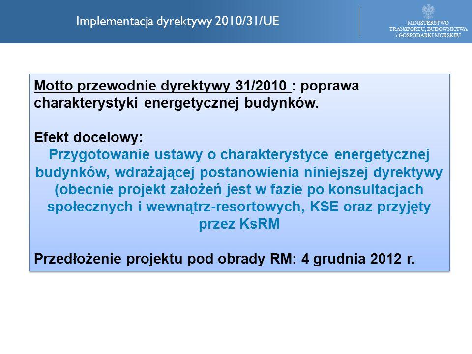 MINISTERSTWO TRANSPORTU, BUDOWNICTWA i GOSPODARKI MORSKIEJ Implementacja dyrektywy 2010/31/UE Motto przewodnie dyrektywy 31/2010 : poprawa charakterystyki energetycznej budynków.